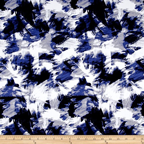 Telio Bloom Stretch Cotton Sateen Brush Strokes Print Blue Fabric By The Yard (Cotton Stretch Sateen Fabric)