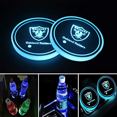Meserparts 2 Pack LED Cup Holder Lights for Oakland Raiders, Car Coaster with 7 Colors Changing USB Charging Mat, Luminescent Cup Pad Interior Atmosphere Lamp Decoration Lights: Automotive [5Bkhe1509551]