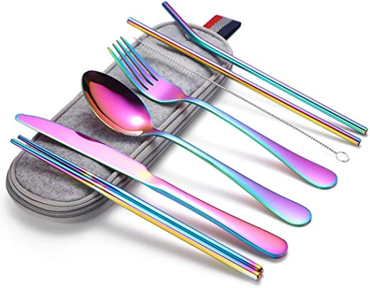 Utensilios portátiles, juego de cubiertos de camping de viaje, 8 piezas, incluye cuchillo, tenedor, cuchara, palillos, cepillo de limpieza, estuche portátil, juego de cubiertos de acero inoxidable: Amazon.es: Hogar