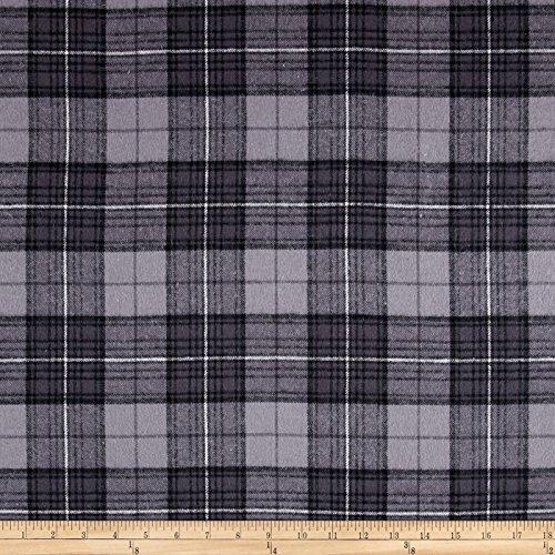 Newcastle Fabrics Yarn Dyed Flannel Plaid Grey Asphalt, Fabric by the Yard