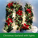 9FT Christmas Garland with Lights Battery Operated Christmas Garland with Balls Xmas Door Decoration Xmas Green Garland (Red-With Lights, 1 Pack)