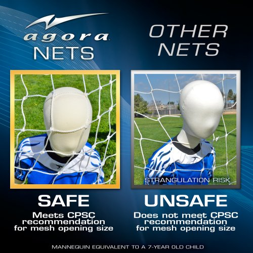 """Agora 3mm Nets for 6'6""""x18' Soccer Goals With Depth (Each)"""