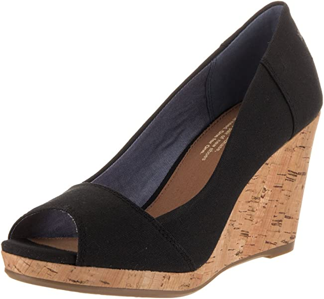 fb3e6f6d73c Womens Stella Open Toe Cork Wedge Sandals. TOMS Stella Black Canvas (12