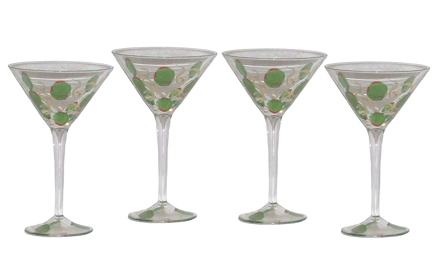 Amazoncom Artisanstreets Hand Painted Martini Glasses With Green
