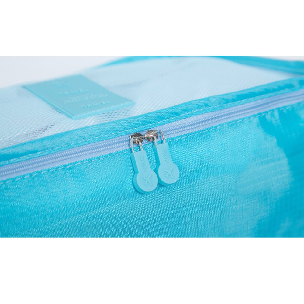 6 pcs Luggage Packing Organizers Packing Cubes Set for Travel Vinmax Storage Bags with Laundry Bag Packing Pouches (Light Blue)