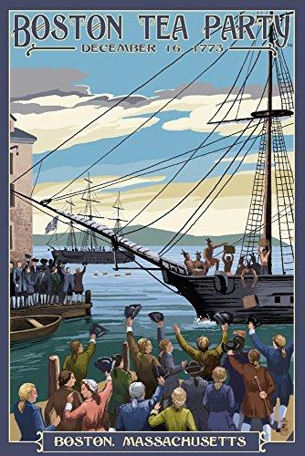 Boston, Massachusetts - Boston Tea Party Scene (9x12 Art Print, Wall Decor (Tea Party Canvas Reproduction)