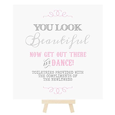 552139a27 Wedding Ladies Toiletry Bathroom Basket Sign With Mini Wooden Easel In A  Range Of Pastel Colours