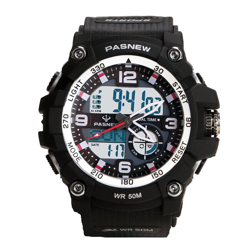 Teenagers Sport Watch | Multifunctional Wrist Clock | Analog Quartz & Digital Display | Dual Time Zone | Water Resistant | EL Backlight | Stopwatch | 3 Alarms | Chime | PU Strap for Boys Girls Black by HOWOD