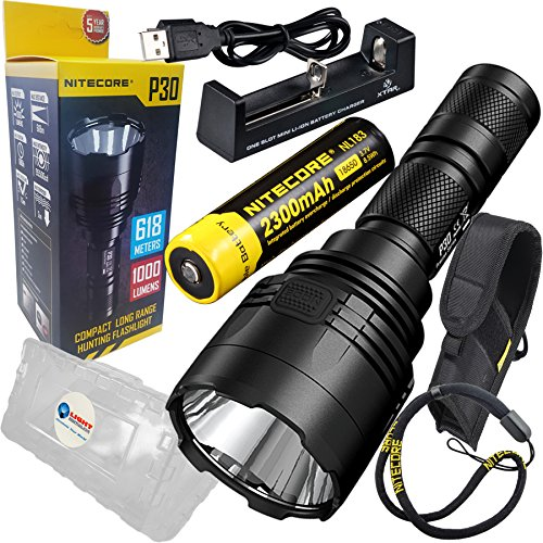 Nitecore P30 Compact Long Range Hunting LED Flashlight with NL1823 2300mAh 18650 Battery, MC1 Charger, and LightJunction Battery Case For Sale