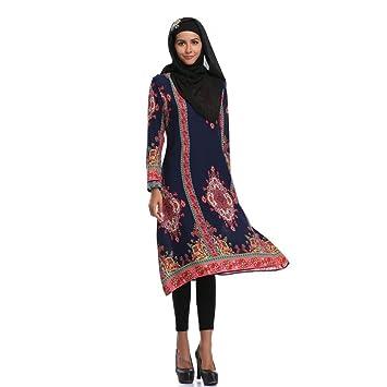 Faldas Largas Mujer Verano Boho, Zolimx Mujeres Musulmanas Impresión Islámica Mangas Largas Tallas Grandes