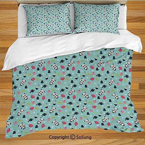 (Asian King Size Bedding Duvet Cover Set,Panda Bears Koi Fishes Chopsticks Tea and Ricebowl Japanese Far Eastern Illustration Decorative Decorative 3 Piece Bedding Set with 2 Pillow Shams,Multicolor)