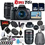 6Ave Canon EOS Rebel T6i DSLR Camera w/18-55mm Lens International Version (No Warranty) + Canon 55-250mm IS STM Lens + Canon EF 24-105mm f/4L IS II USM Lens 1380C002 + Deluxe Cleaning Kit Bundle