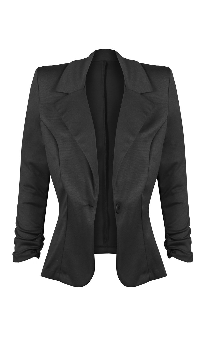HOT FROM HOLLYWOOD Women's Lightweight Front Button Blazer with Notch Collar and 3/4 Ruched Sleeves