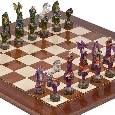 Fantasy Chessmen & Chelsea Park Deluxe Mahogany Chess Board