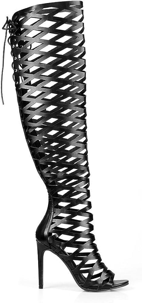 Caged High Heel Sandals in Black