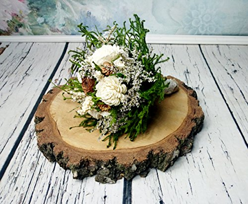 Medium Ivory Green Cypress Cedar Rose Rustic Bouquet Sola Flowers Burlap Lace