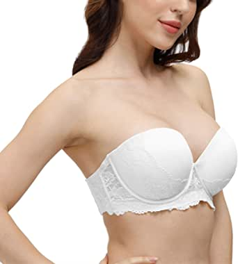 Women's Strapless Push Up Lace Bra Thick Padded Clear Strap Back Convertible Multiway Underwire Bras
