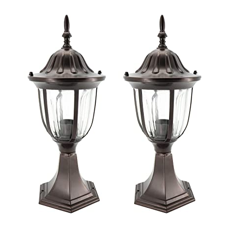 In Home 1 Light Outdoor Garden Post Lantern L03 Lighting Fixture Traditional Post Lamp Patio With One E26 Base Water Proof Bronze Cast Aluminum
