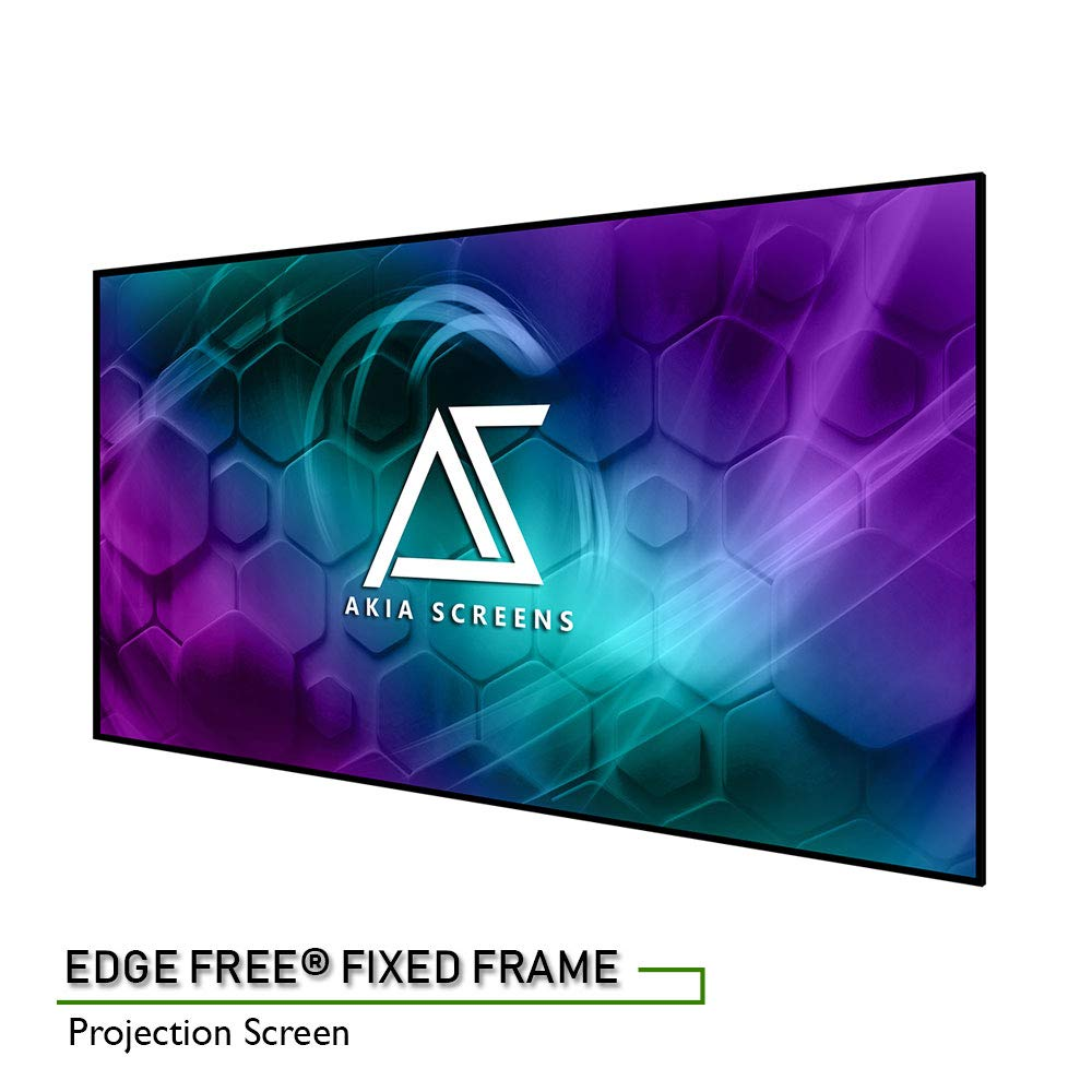 """Akia Screens 100"""" Edge Free Fixed Projector Screen 100 inch Diagonal 16:9 Thin Edge Projection Screen 8K 4K Ultra HD 3D Ready Movie Theater Home Theater AK-NB100H1"""