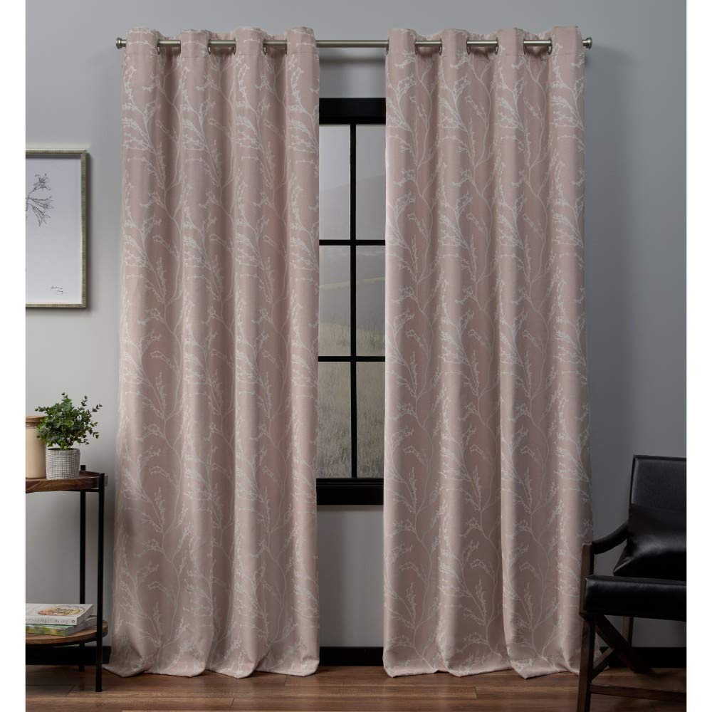 pink bluesh 52x84 Exclusive Home Curtains Kilberry Woven Blackout Window Curtain Panel Pair with Grommet Top, 52x96, Ash Grey, 2 Piece