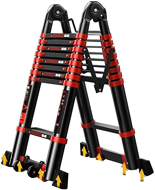 JIACTOP Escalera de extensión telescópica, A-Frame Multiuso Plegable portátil Escaleras Ingeniería, 330lb Capacidad de Carga for la Seguridad del Loft (Size : 2.9+2.9=5.8M(19ft)): Amazon.es: Hogar
