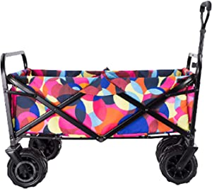 Garden Carts Folding Shopping Trolley Portable Four-Wheeled Trolley Camping Trolley,Multicoloured