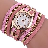 Hosaire Bracelet en Cuir Artificiel Tressé bracelet Vintage Montre-bracelet Femme Chaîne Bijoux Accessoires de mode Cadeau Anniversaire Noel Saint-Valentin Multicolore
