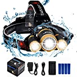 BenRan Headlamp CREE 3 T6 Super Bright Light Adjustable Focus Zoom Lights Lamp,Headlight Bicycle LED Flashlight,4 Modes,USB Rechargeable Batteries (Golden & 4 Battery Pack)