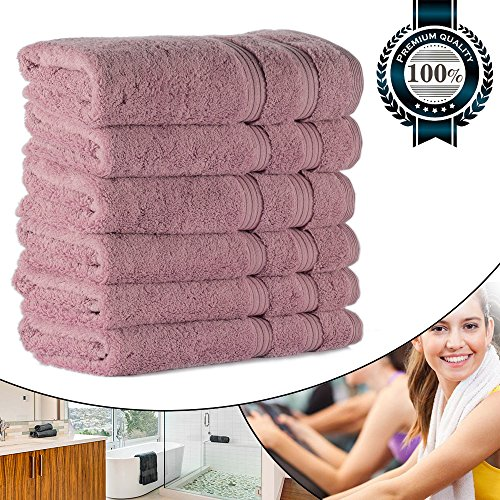 """Hand Towels for Spa 700GSM 15.75""""x31.5"""", Luxury Hotel Quality for Salon/Bathroom/Bath, Organic Cotton Soft Thick and Fluffy (6 Rose Set Bulk)"""