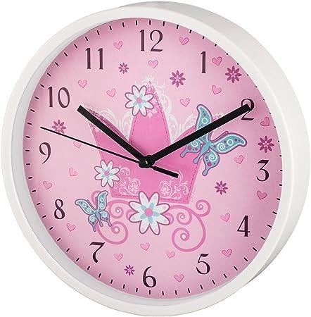 Kinderzimmer Wanduhr Mädchen Blumen Rosa Schmetterlinge Uhr kein Ticken