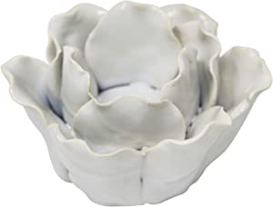 "Sagebrook Home 13858-03 Ceramic 4.5"" Rose Tealight Holder, White, 4.5 x 4.5 x 2.75 inches, Blue"