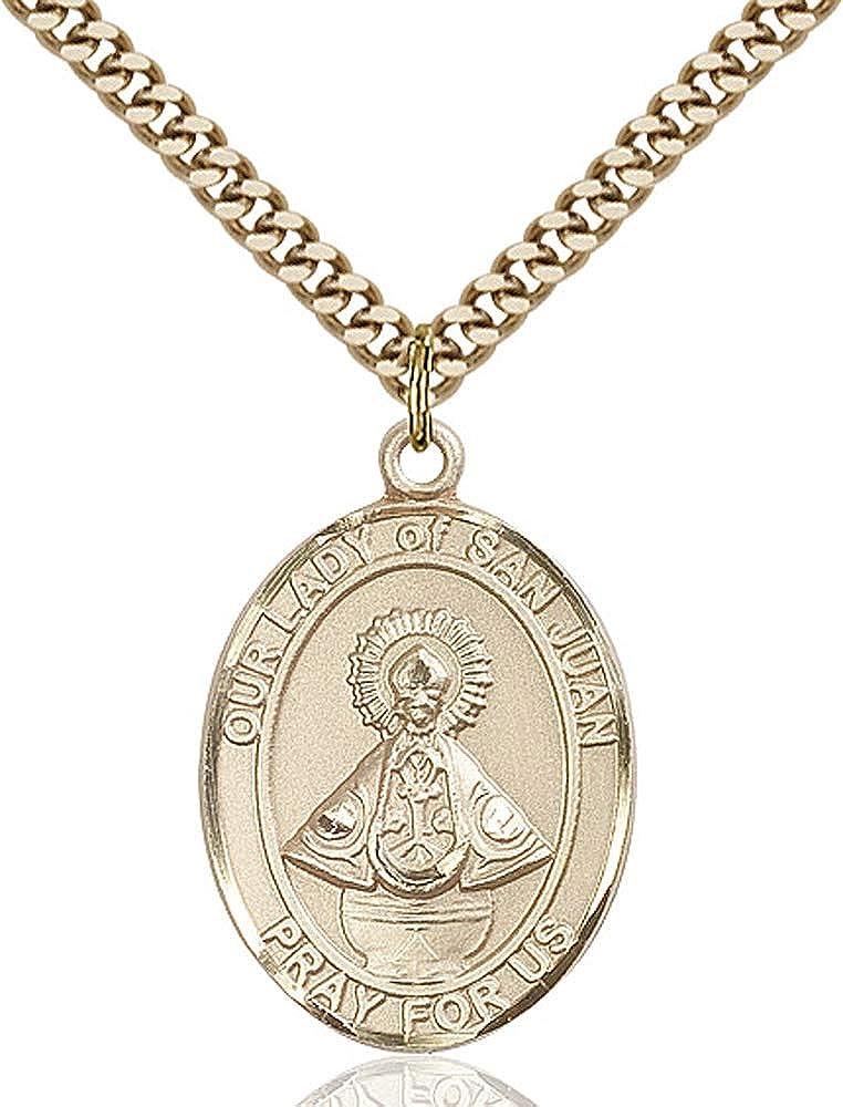 Gold Plate Heavy Curb Chain Patron Saint 1 x 3//4 14kt Gold Filled O//L of San Juan Pendant