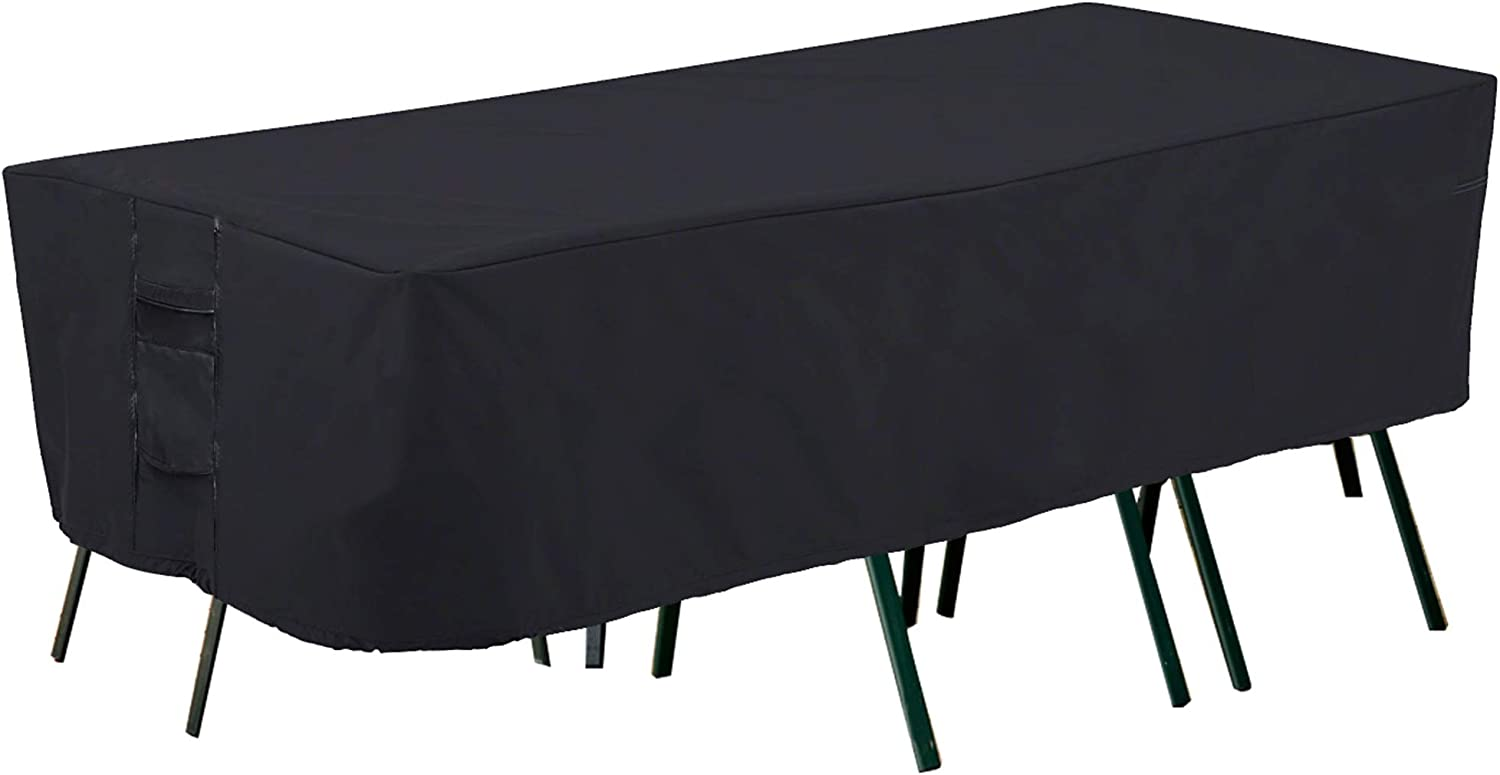 PrimeShield Patio Furniture Covers, Heavy Duty Outdoor Table Cover Waterproof Rectangular, UV Resistant 0utdoor Furniture Cover , fit Most of Rectangular Table and Chair Set, L90 x W60 x H23 inches