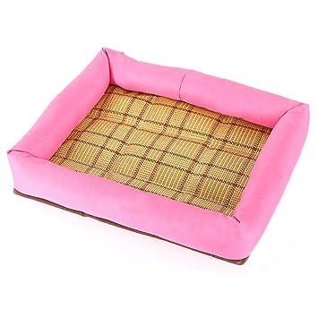 DaoRier Exterior Casa para Mascotas Cama de Perro Gato Puppy Conejo Mascota Antideslizante Plegable Suave Calentar con Cojín Extraíble Rosa 50×60cm: ...