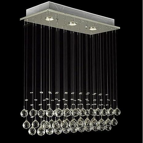 Louvra Lámpara de Techo Luz Cristal Colgante 3 Fuente de Luz Halógeno, 50W