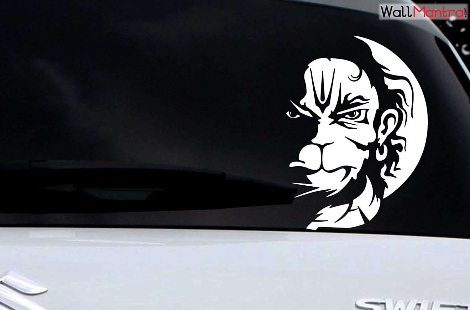 Wallmantra angry hanuman orange car sticker white self adhesive peel and stick diy vinyl car graphics fits all cars 53 cm w x 41 cm h amazon in car