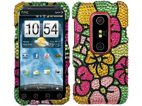 Daisy Rainbow Bling Rhinestone Crystal Case Cover for HTC Evo 3D 4G w/ Free Pouch (Htc Evo 3d Boost Mobile)