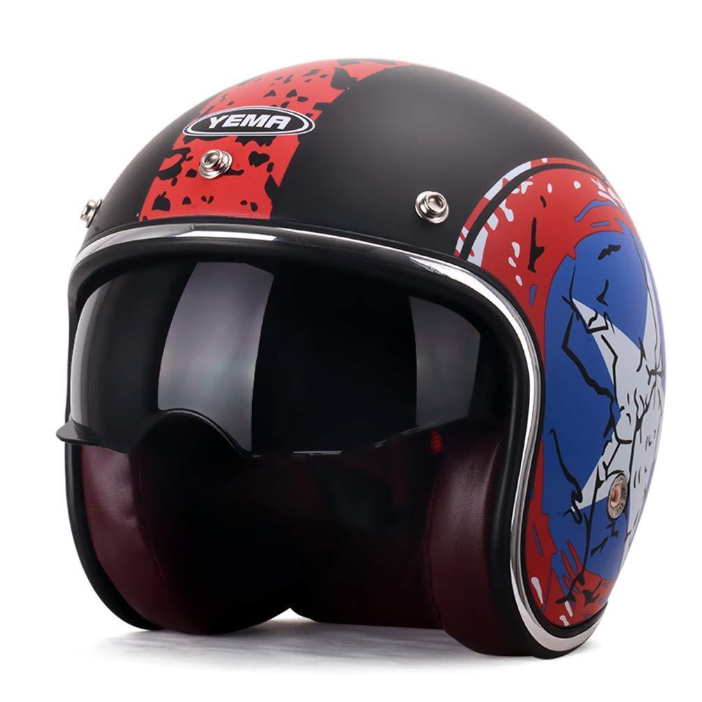 GWM ハーレーオートバイオートバイセーフティヘルメット半カバーブラックレンズヘルメットモトモータークロスヘルメットUKフラッグ54-61cm (色 : Five stars) Five stars