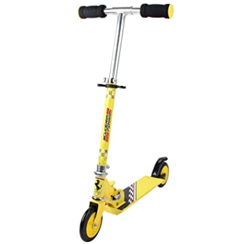 Ferrari - Patinete para niños (2 ruedas, plegable, aluminio, altura ajustable)