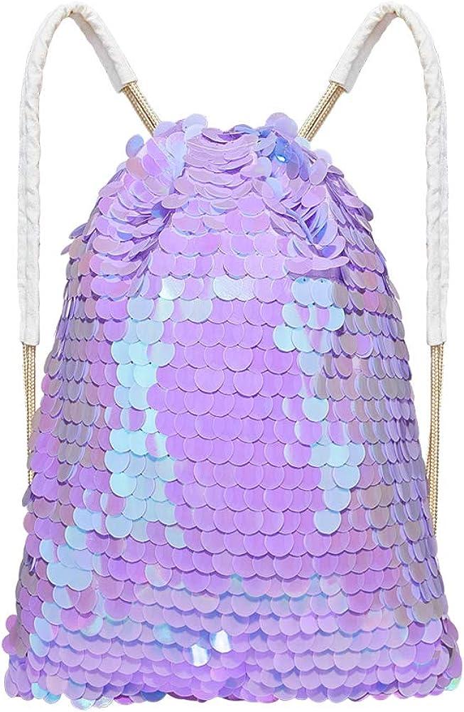 ICOSY Mermaid Sequin Bag Girls Drawstring Dance Bag Glitter Canvas Backpack Gym Sports Bag
