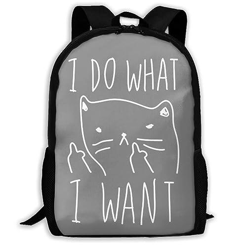 BGKASUH Mochila escolar ligera con impresión de gato I Do What I ...