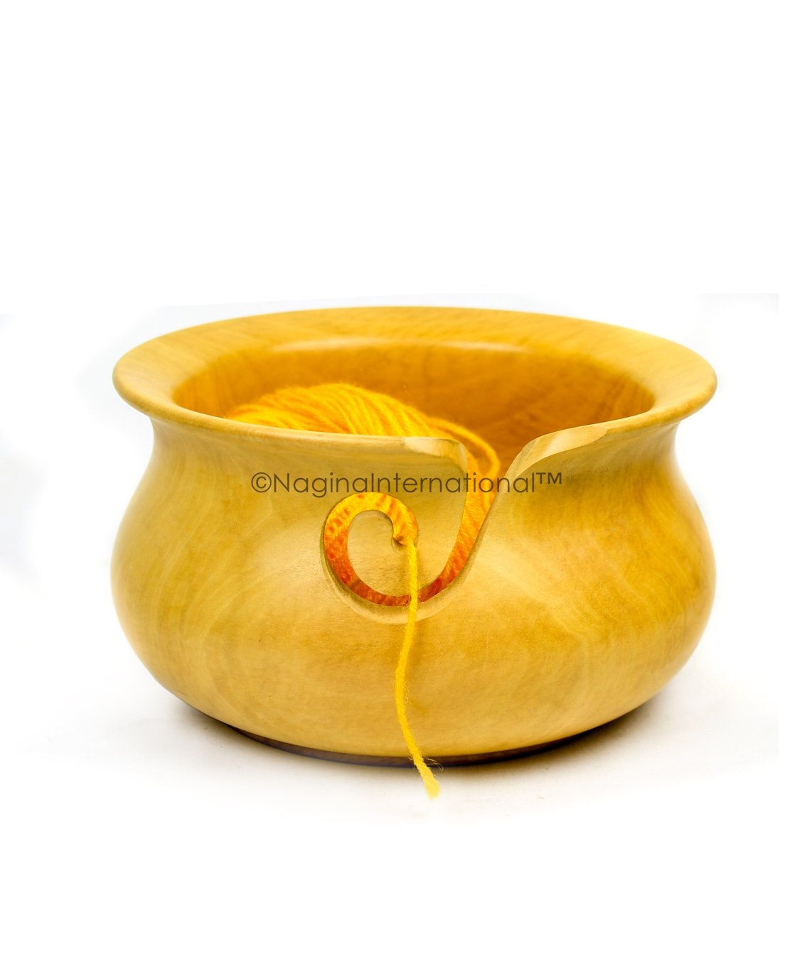 Nagina International Kitchen Pot Styled Premium Wood Crafted Portable Yarn Storage Knitting Bowl (Large, Turmeric Wood)