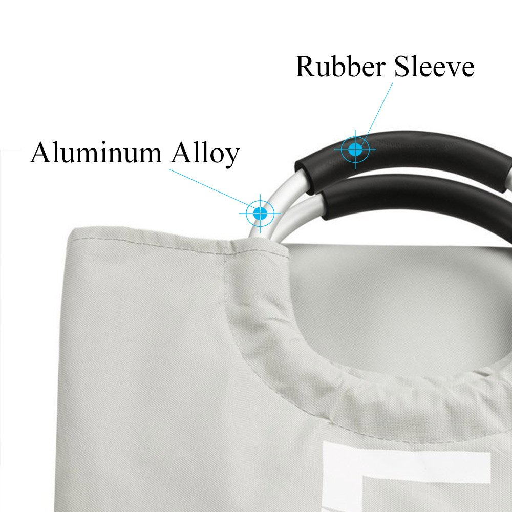 XIFIRY Large Collapsible College Laundry Bag, College Laundry Tote Heavy-duty Laundry Hamper with Alloy Handle (Grey)