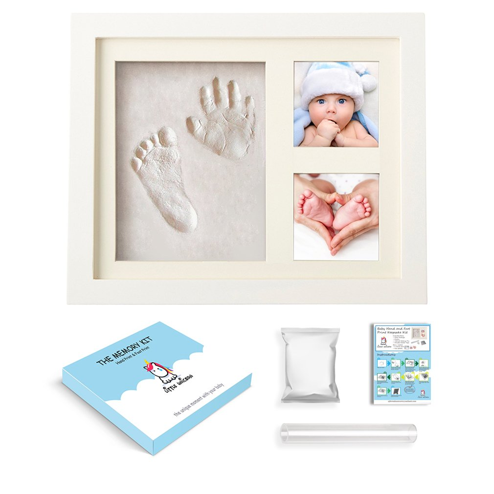 Baby Handprint&Footprint Kit,Baby Picture Frame,Natural Corn Material Non Toxic Clay,Best Baby Shower Gifts,Ornament Keepsake Kit for Newborn Girls and Boys Room Wall Decoration Little Unicorn