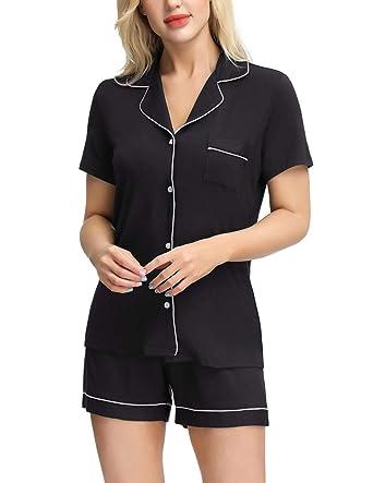 bcc4f22551 Zexxxy Pajama Shorts for Women Ladies Lounge Wear Lightweight Button Down  Sleepwear Black S