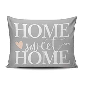 XIUBA Pillowcases Home Sweet Home and Pink Heart Gray Customizable Cushion Decorative Rectangle 16x24 inch Standard Size Throw Pillow Cover Case Hidden Zipper One Side Design Printed