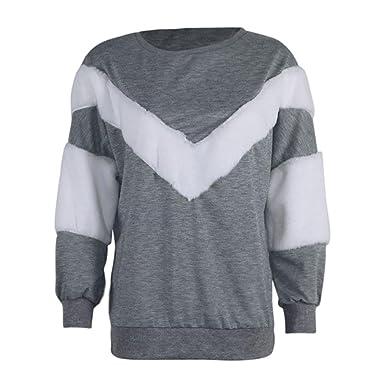 TWIFER Herbst Frauen Damen O Neck Sweatshirt Patchwork Kaschmir Langarm Shirt  Ernte Pullover Bluse (S 8fcff9bd5d