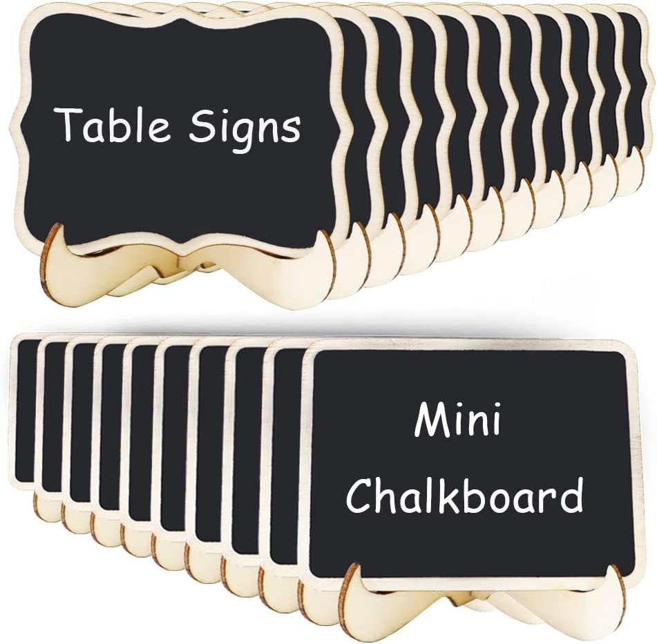 20 Pack Mini Chalkboards Signs with Support Easels, 2 Styles Small Blackboards Message Board Signs, Food Label, Place Card, Table Numbers, Favor Tag for Weddings Parties Event Decoration