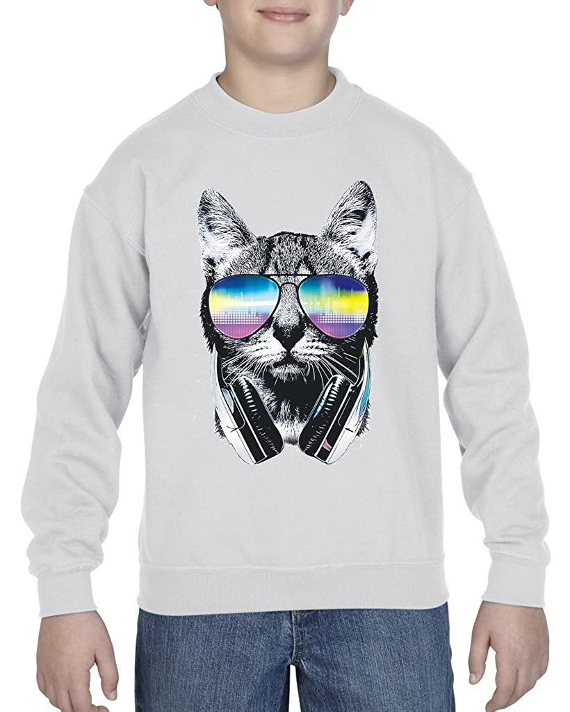 Acacia Cool Cat with Headphones and Sunglasses Unisex Youth Crewneck Sweater