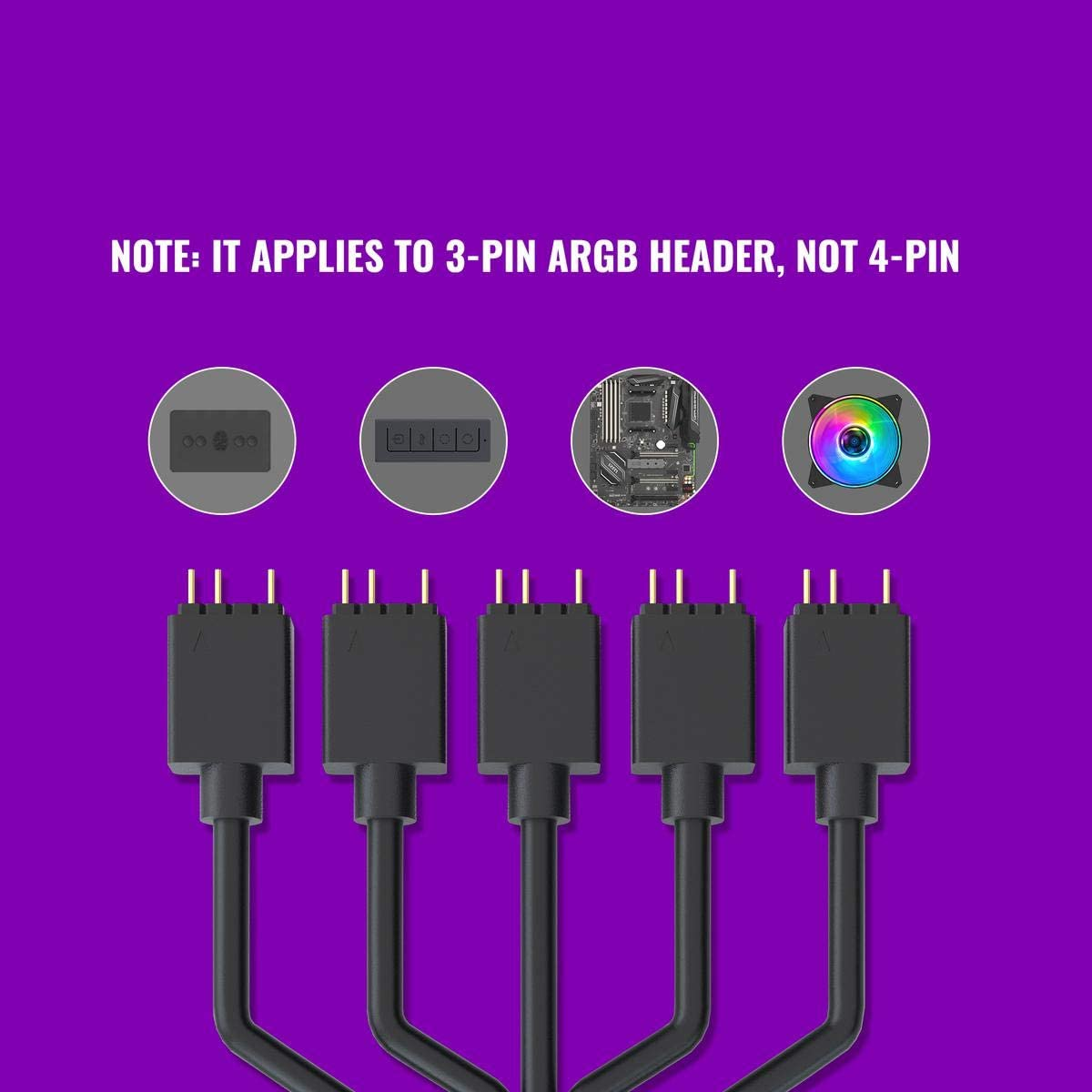 Cooler Master 1-to-5 Addressable RGB Splitter Cable Universal 3-pin ARGB Sync on LED Strips and Fans for Computer Cases CPU Coolers and Radiators Fans